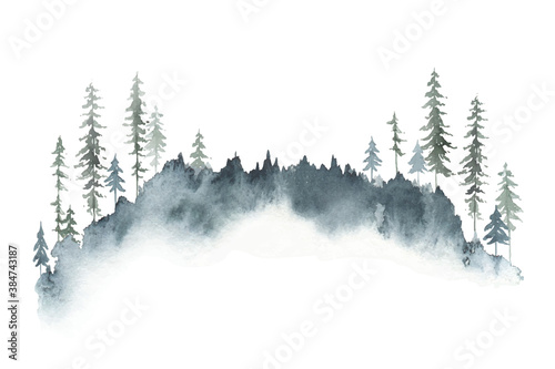 Canvas-taulu Watercolor vector winter forest landscape with fir trees.