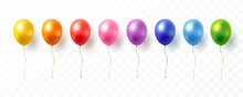 Balloon Set Isolated On Transparent Background. Vector Realistic Golden Colorful And Festive 3d Helium Balloons Template For Anniversary, Birthday Party Design