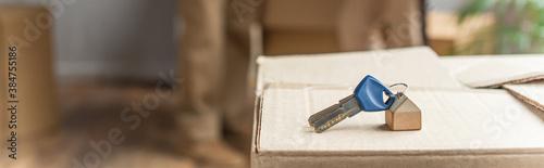 Canvastavla panoramic shot of keys lying on cardboard box, moving concept