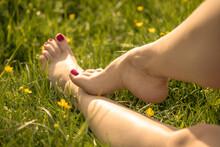 Beautiful Feet On The Grass