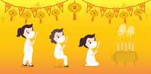 """Female Character Vector Illustration Praying For Holy Things According To Religious Beliefs On A Yellow Background. Chinese And Thai Flags Mean """"vegetarian""""."""