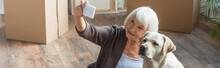 Senior Woman Taking Selfie Wit...