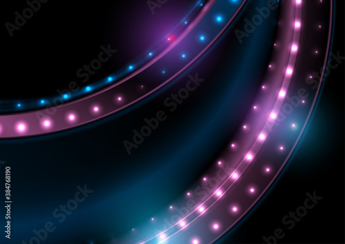 Blue purple glitter shiny wave with sparkling lights abstract background. Vector design
