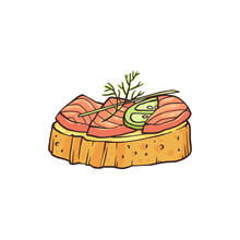 Small Canape With Salmon Fish, Sketch Hand Drawn Vector Illustration Isolated.