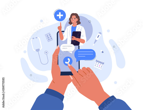 Obraz Hands Holding Smartphone with Video Call on Screen. Patient having Online Conversation with Doctor. Modern Health Care Services and Online Telemedicine Concept. Flat Cartoon Vector Illustration.   - fototapety do salonu