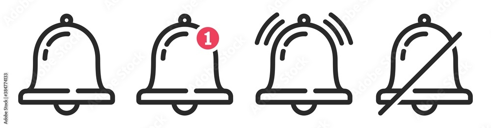 Fototapeta Notification bell icon isolated on white background. ringing bell and notification for clock and smartphone, alarm alert, vector Illustration