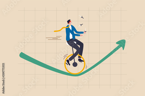 Investment risk, insurance, business opportunity to grow up in economic crisis concept, confidence investor businessman blindfold and juggling knifes riding unicycle one wheel on green rising up graph
