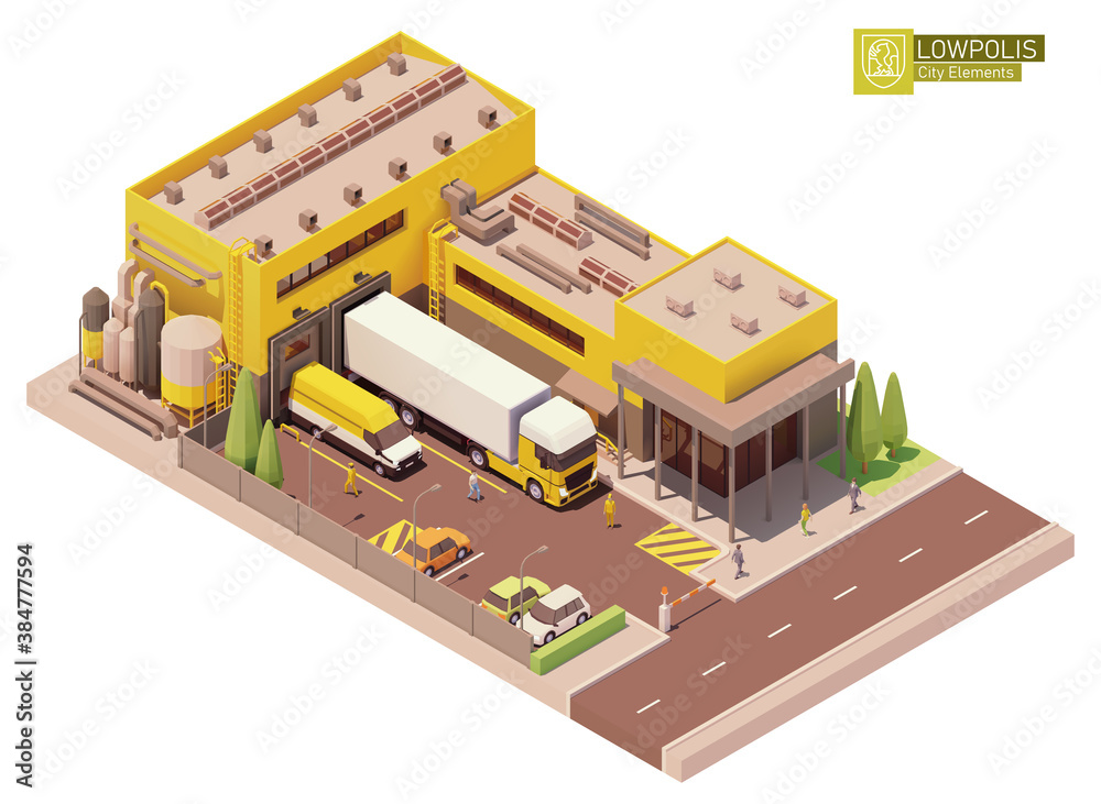 Fototapeta Vector isometric factory building. Factory or plant building exterior. Industrial facility. Office, loading docks and trucks loaded with goods. Isometric city or town map construction elements
