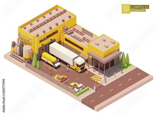 Obraz Vector isometric factory building. Factory or plant building exterior. Industrial facility. Office, loading docks and trucks loaded with goods. Isometric city or town map construction elements - fototapety do salonu