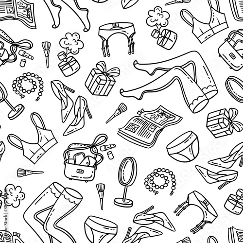 Fotografiet Vector pattern on the theme of women things, underwear, lingerie, cabaret