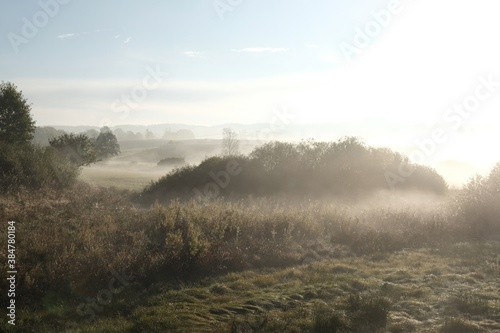 Fotomural Beautiful autumn moody landscape - fields and meadows shrouded in mist in the morning
