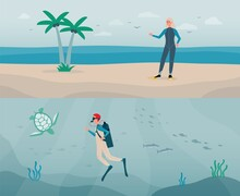 Vector Flat Illustrations Of Diver Man With Aqualung And Woman In A Scuba Suit.