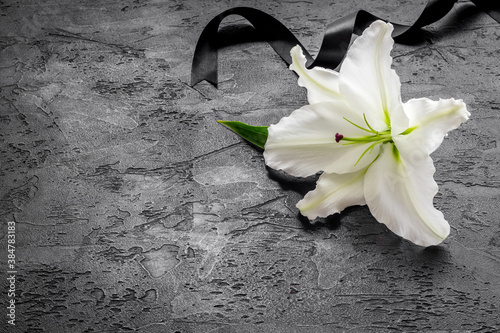 Foto Condolence card with white flowers lily. Funeral symbol