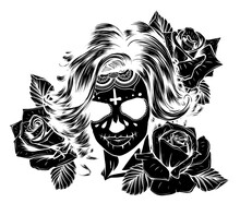 Black Silhouette Woman's Face And Red Rose Vector Illustration