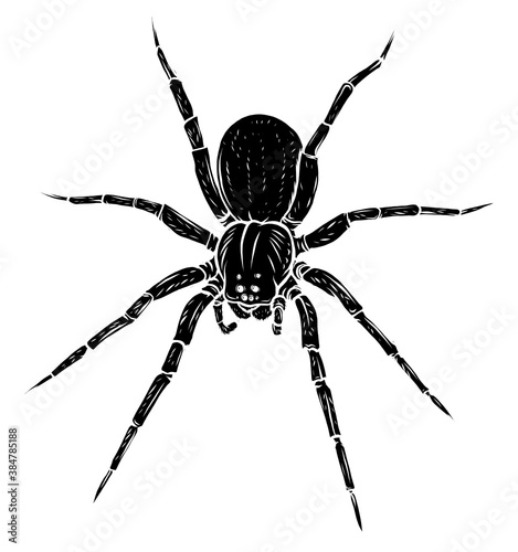 Leinwand Poster black silhouette spider steed crossbow scary vector illustration art