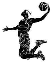 Flat Design Basketball Player Dunk Vector Illustration