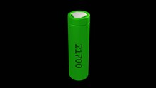 3d Of Green 21700 Battery 1 Cell In Black Background
