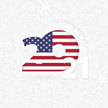 Happy New Year 2021 For USA On Snowflake Background.
