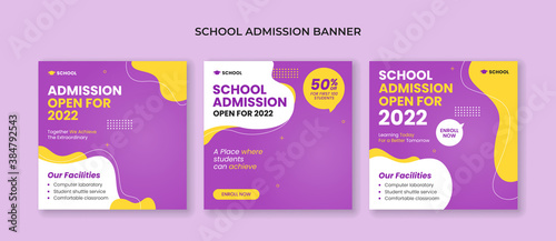Fototapeta School admission social media post template. Suitable for junior and senior high school promotion banner obraz
