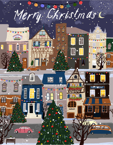 Fototapeta Merry Christmas and Happy New Year! Vector illustrations of festive decorated cute houses, Christmas trees, evening city streets and winter road. Drawing for a postcard or poster obraz