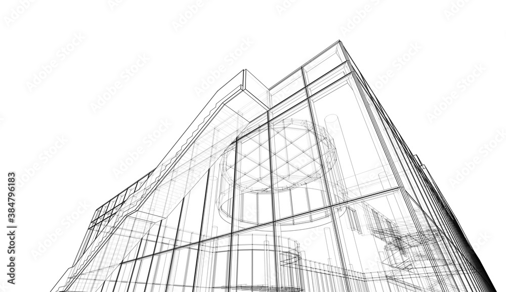 Fototapeta 3d rendering of a building