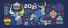 2021. Year Of The Bull. Vector...