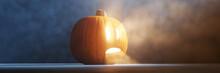 Scary Halloween Pumpkin With F...