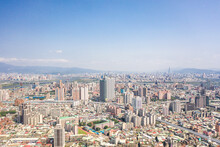 New Taipei City,Taiwan - Feb 1, 2020: This Is A View Of The Banqiao District In New Taipei Where Many New Buildings Can Be Seen, The Building In The Center Is Banqiao Station