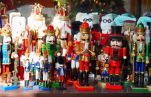 Wooden Toy Soldiers, Nutcrackers And Christmas Decorations