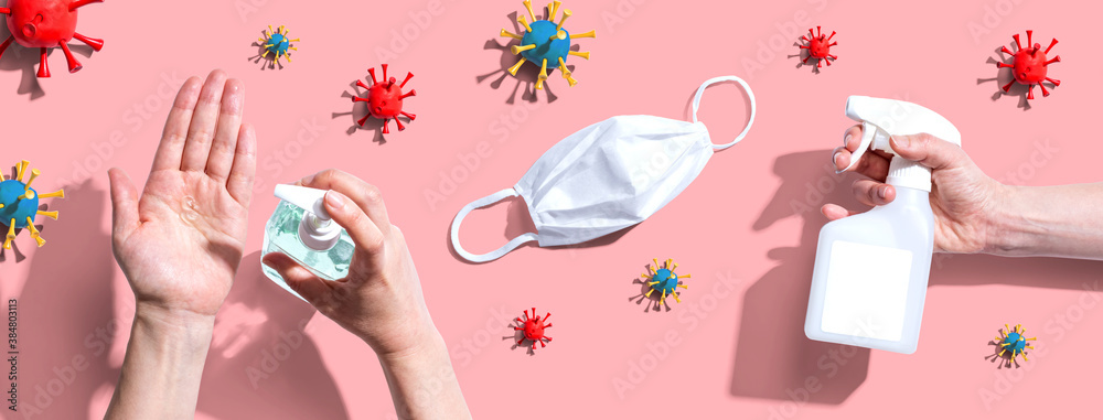Fototapeta Prevent virus and germs - healthcare and hygiene concept