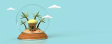 Illustration 3D D'une Boule à Neige Avec Une Petite île Isolée Comportant Une Petite Habitation Et Des Palmiers. Concept Voyage