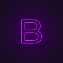 Bright Neon Font With Fluorescent Pink Tubes. Large Capital Letter B. Night Show Alphabet.