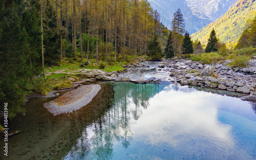 Cuadros en Lienzo Mello valley in Valtellina, Italy, aerial view of the small lake