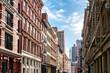 View of the historic buildings along Mercer Street in the SoHo neighborhood of Manhattan, New York City