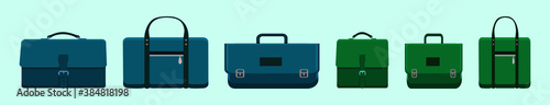 Fotomural set of briefcase cartoon icon design template with various models