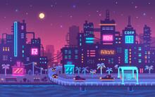 Pixel Art Cyberpunk Metropolis Background.