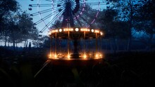 Abandoned Carousel And Ferris Wheel In An Amusement Park In An Abandoned City. 3D Rendering.