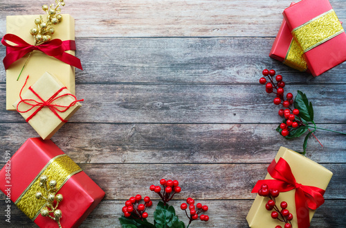 Boxing day Sale concept Christmas gift box on cement background,