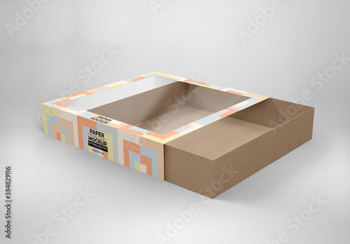 Window Sleeve Large Box Mockup with 2 View Options