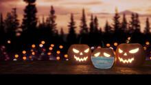 Two Glowing Halloween Pumpkins...
