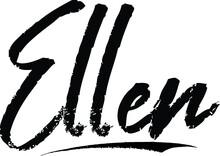 Ellen-Female Name Modern Brush Calligraphy On White Background