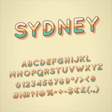 Sydney Vintage 3d Vector Alphabet Set. Retro Bold Font, Typeface. Pop Art Stylized Lettering. Old School Style Letters, Numbers, Symbols Pack. 90s, 80s Creative Typeset Design Template