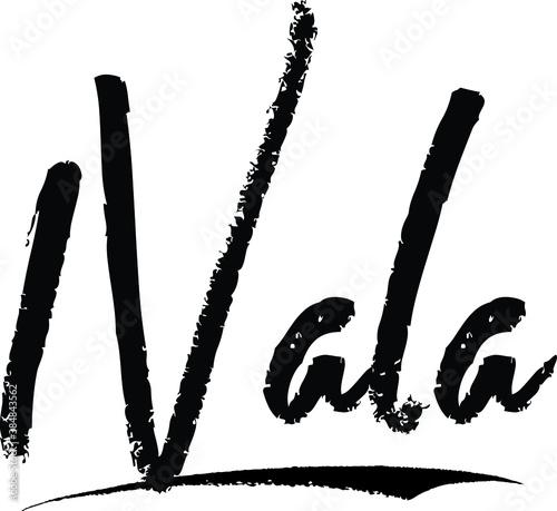Fotomural Nala-Female name Modern Brush Calligraphy on White Background
