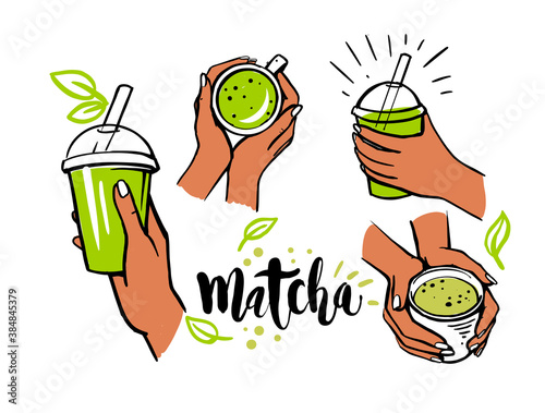 Fotografie, Obraz matcha tea set in female hands
