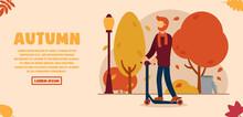 Vector Autumn Concept. A Man I...