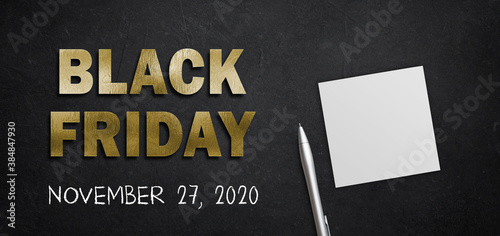 Obraz message BLACK FRIDAY and date NOVEMBER 27, 2020 in golden letters on black background - fototapety do salonu