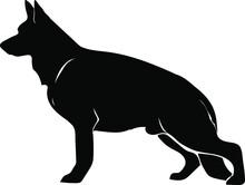 German Shepherd Dog Vector Silhouette Illustration