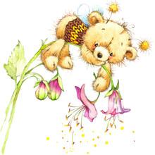 Cute Teddy Bear For Kid Birthday Background . Watercolor Illustration