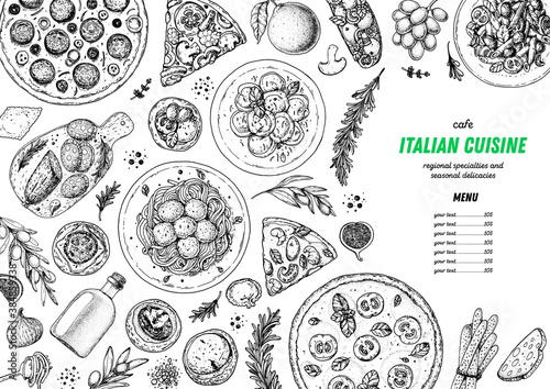 Italian Food. Top view. Sketch illustration. Italian cuisine. Design template. Hand drawn illustration. Black and white. Engraved style. Authentic dishes.