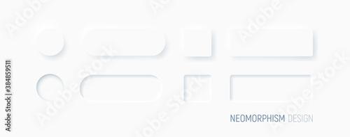 Fototapeta White buttons in Neomorphism design style. Vector illustration EPS 10 obraz